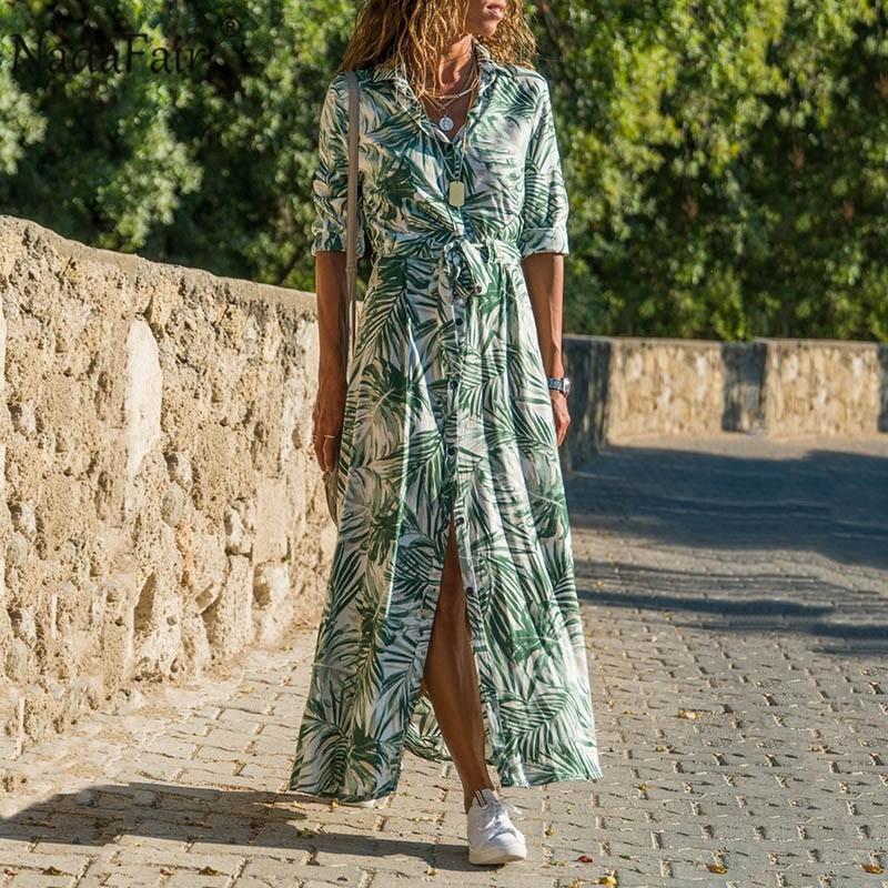 Nadafair Maxi sukienki damskie plażowe szarfy guziki szyfon w kwiaty A-Line koszula-tunika letnie