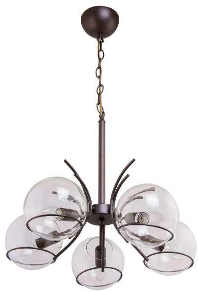 Inne LAMPA wisząca VEN W-GH 90807/5 metalowa OPRAWA na łańcuchu ZWIS szklane kule balls brąz przezroczyste VEN W-GH 90807/5