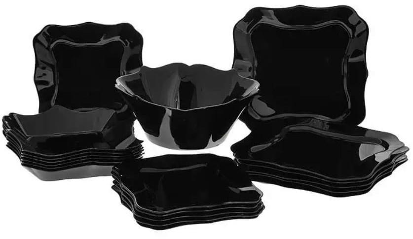 Luminarc Serwis obiadowy Authentic 19 elementów czarny talerze dla 6 osób
