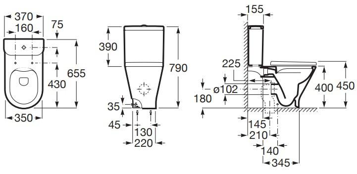 Roca Gap Round Toaleta WC kompaktowa 65,5x37x79 cm bez kołnierza Rimless biała A3420N8000