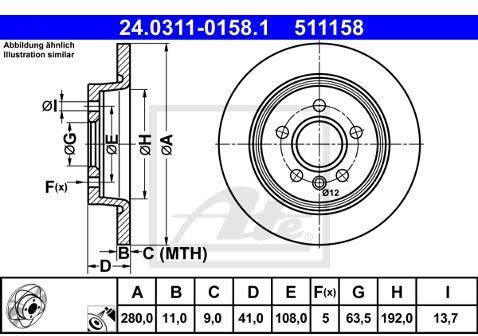 ATE TARCZA HAM POWER DISC 24.0311-0158.1 VOLVO S40 II D3 10-/ FORD FOCUS II 2.0 10-  24.0311-0158.1