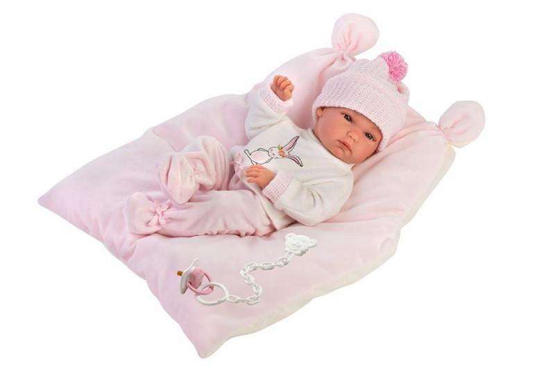 Llorens Lalka 63556 bobas Bimba na różowej poduszce 35cm