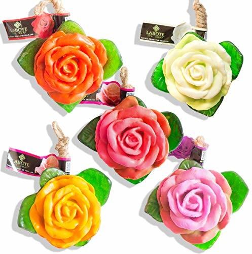 Bio LABOTE Ręcznie robione tajlandzkie naturalne mydło różowe czerwone + białe + różowe + żółte + fioletowe o typowym zapachu