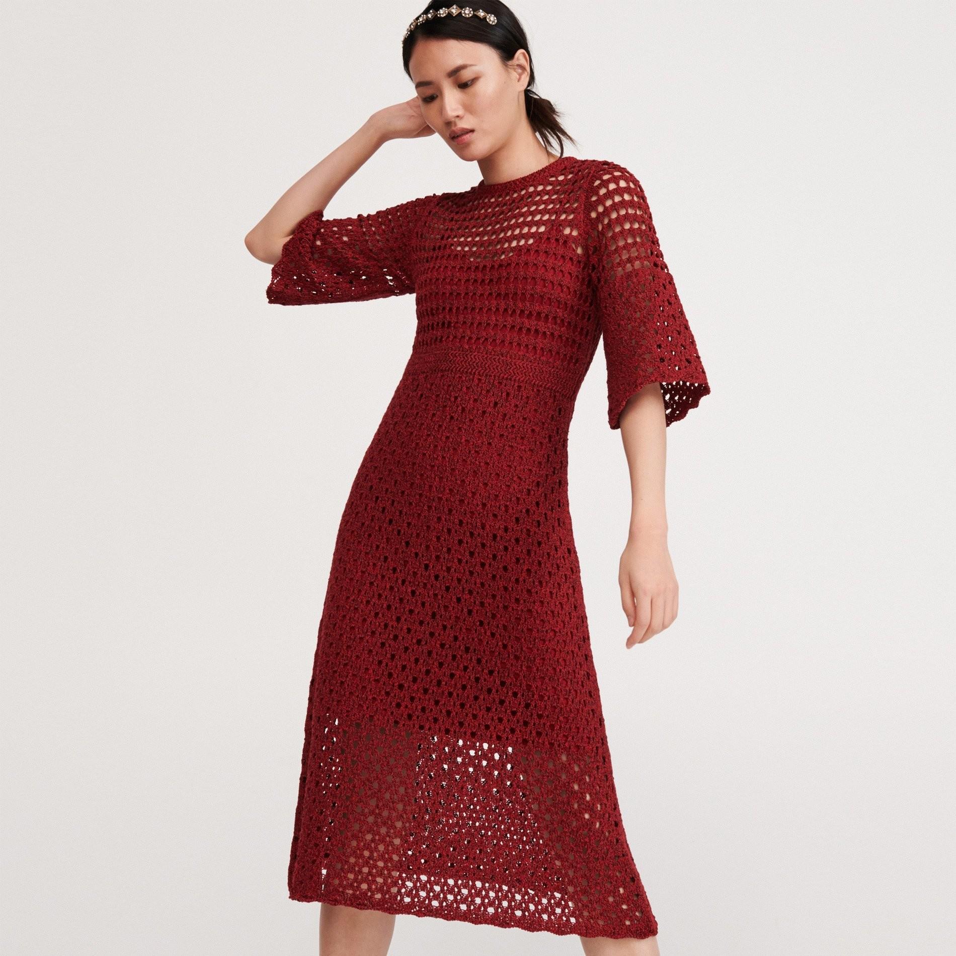 Reserved Ażurowa sukienka - Bordowy