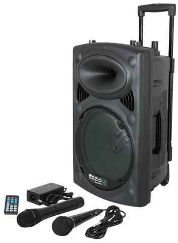 Ibiza Port8VHF-BT zestaw estradowy PA, Bluetooth, USB, SD, moc RMS 200W, ze stojakiem głośnikowym, czarny PORT8VHF-BT