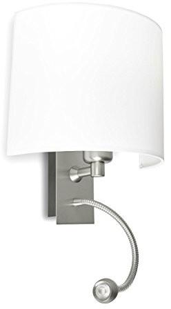 Pujol Basic lampa ścienna czytanie z oświetleniem Flexo wyświetlacz, 15 W, E-27, nikiel wykończenie Basic