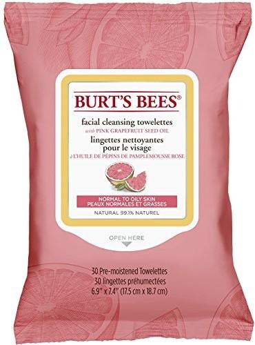Burt's Bees szampon wilgotnych chusteczek do oczyszczania twarzy do skóry wrażliwej z bawełny gorzelniczego, 30sztuk 01815-14