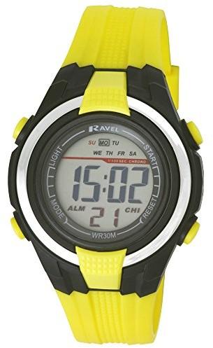 Ravel motravel LCD cyfrowy-zegarek na rękę/bransoletka zegarek sportowy, dla chłopców, wodoszczelna, z czarnym cyferblat i wyświetlaczem cyfrowym oraz żółtym tworzywo sztuczne-RDB-15