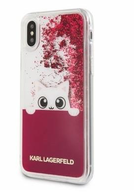 Karl Lagerfeld K-Peek A Boo - Etui iPhone X (Glitter Fushia) KLHCPXPABGFU