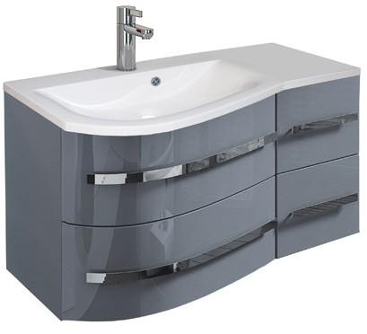 Oristo Szafka wisząca z umywalką OPAL 90 cm, LEWA SZARY POŁYSK OR33-SD-90-L-1 + UM-90-OPAL-L-DARMOWA DOSTAWA OR33-SD-90-L-1 + UM-90-OPAL-L