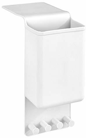 Wenko 23486100 uchwyt na prostownicę Ampio biały - uchwyt ścienny do prostownicy, mocowanie bez wiercenia, silikon, 10 x 36,5 x 6,5 cm