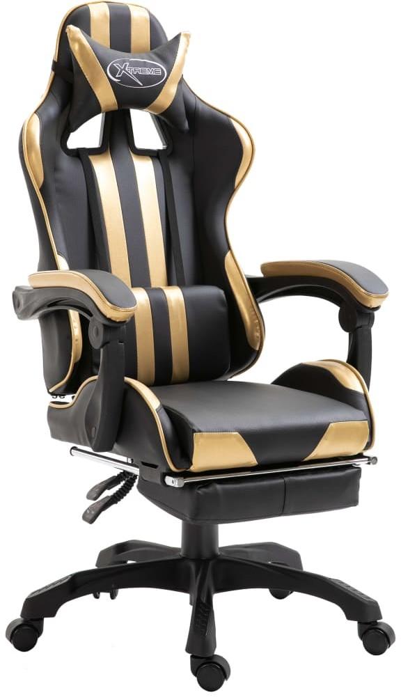 vidaXL vidaXL Fotel dla gracza z podnóżkiem, złoty, PU
