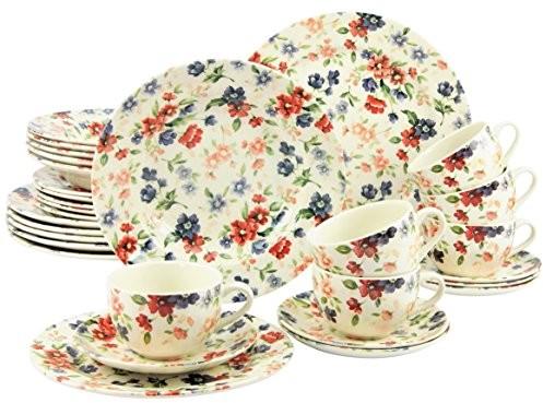 Creatable 17906 seria, Louisa, zestaw zastawa stołowa serwis łączony 30-częściowy, kamienia, wielokolorowa, 40 x 32.5 x 32 cm, jednostek 17906