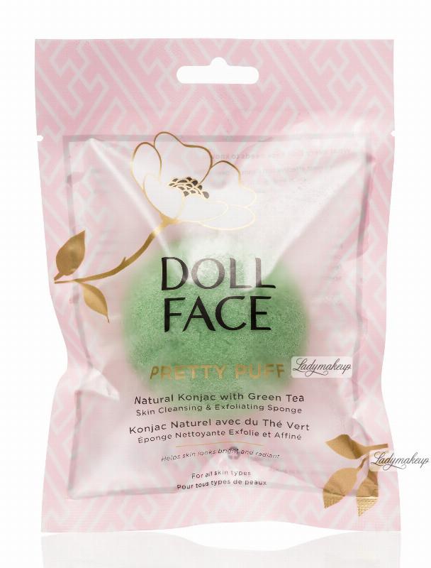 PRETTY DOLL FACE DOLL FACE - PUFF - Natural Konjac with Green Tea - Gąbka oczyszczająca do mycia twarzy DOLGDTW