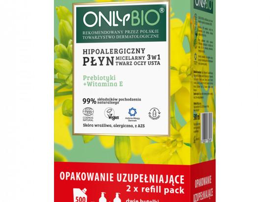 OnlyBio Płyn micelarny prebiotyki i witaminy hipoalergiczny 3w1 do demakijażu twarzy, 500 ml