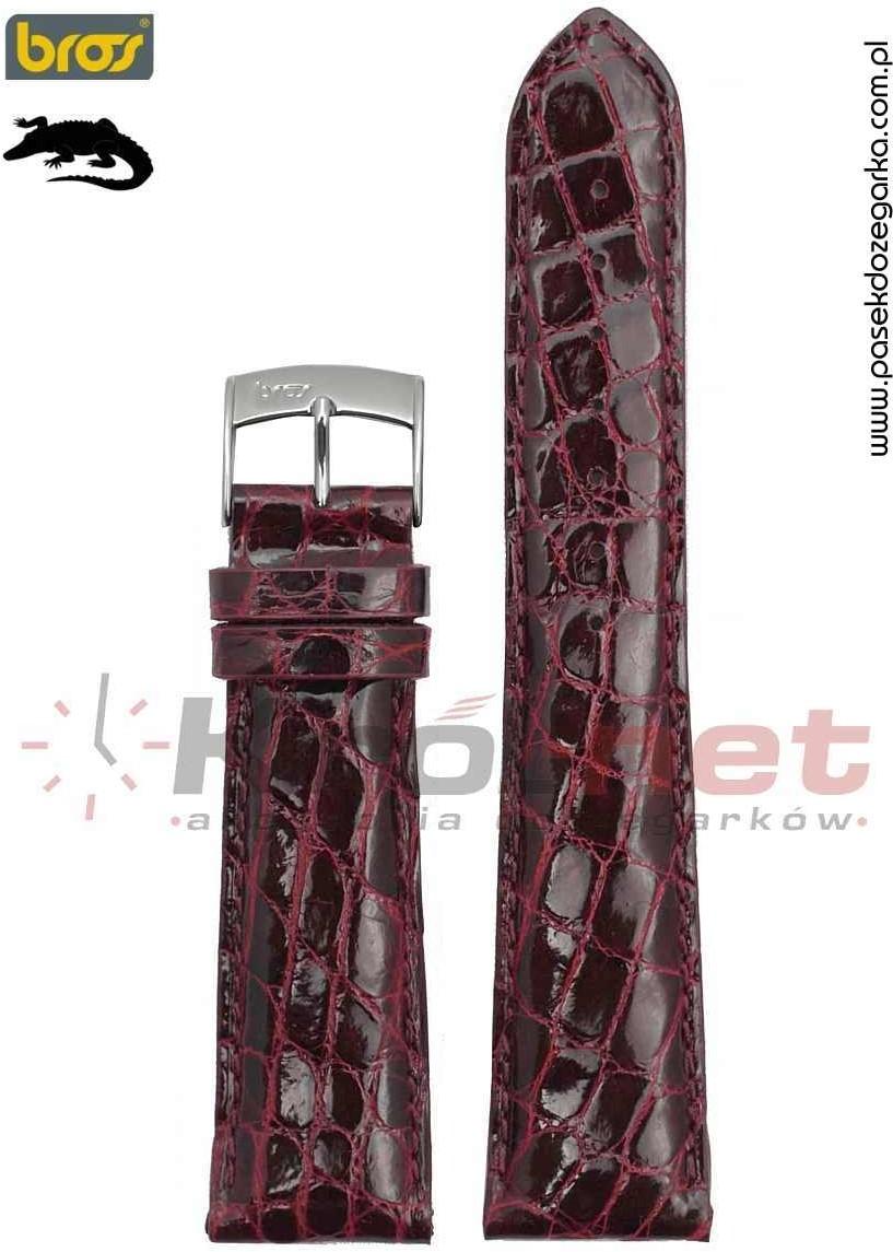 Bros Pasek do zegarka 8130/42/20 - krokodyl, wiśniowy 8130/42/20