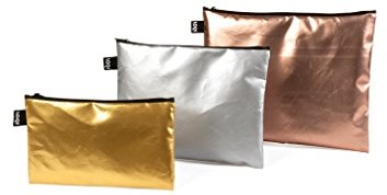LOQI Metallic Zip-etui portfel, matowy złoty, Silver, różowe złoto ZP.MM