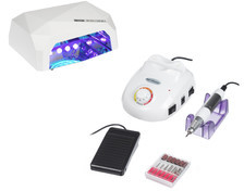 Beauty System Zestaw Frezarka SPRINT45 + Lampa LED36W CFL Biały BS1242