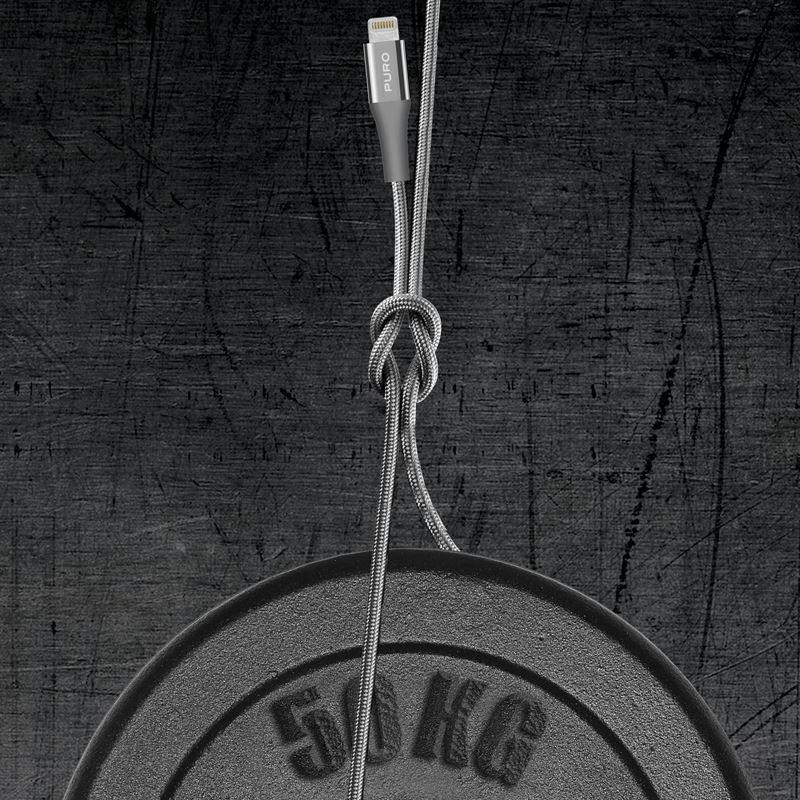 PURO Fabric K2 Kabel W Oplocie Heavy Duty USB-A/Lightning MFi 3m (Space Gray) CAPLTFABK23MSPGREY
