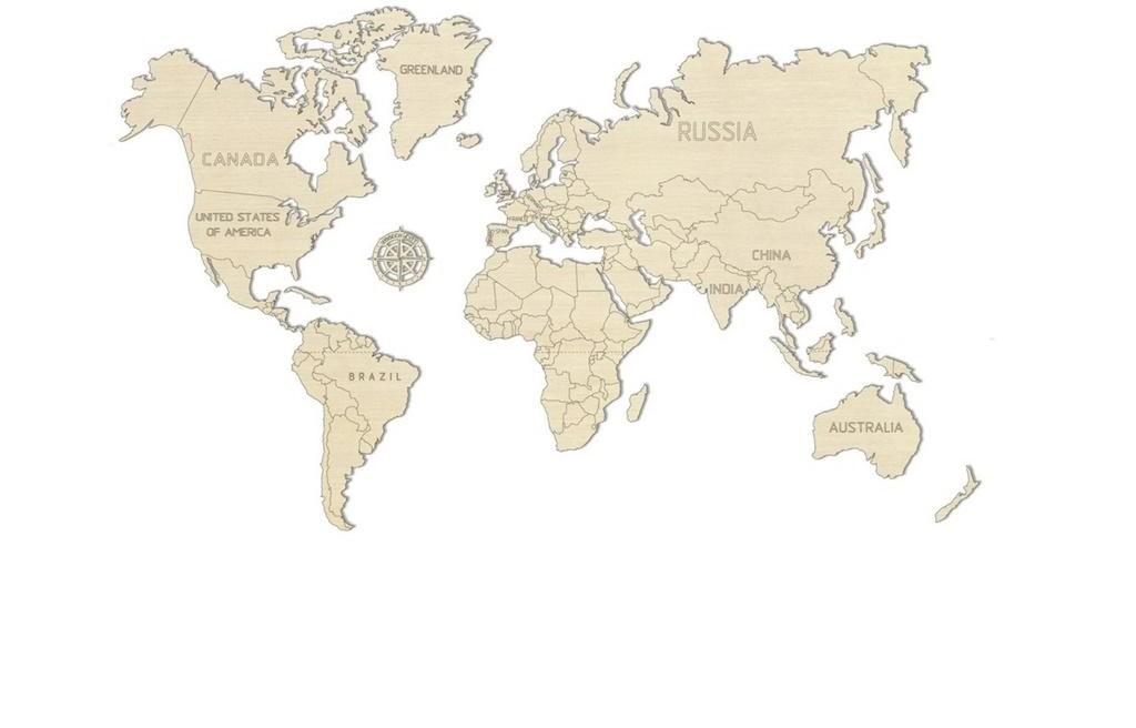 Wooden.City Drewniane puzzle 3D Mapa Świata XL