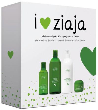 Ziaja I Love Zestaw Oliwkowy do skóry Płyn micelarny 200ml+Mydło pod prysznic 500ml+Mleczko do ciała 400ml+Krem 50ml 46605-uniw