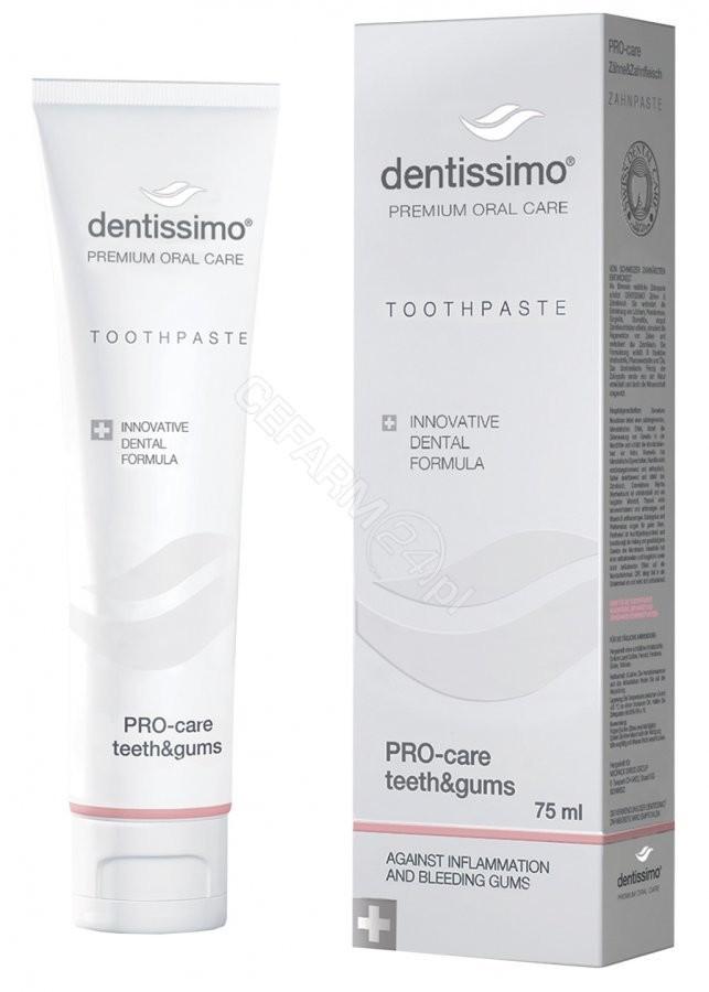 Dentissimo Pro-Care Tooth&Gums 75 ml - Wyjątkowa pasta dla osób po zabiegach u stomatologa, noszących aparat ortodontyczny Pas000203