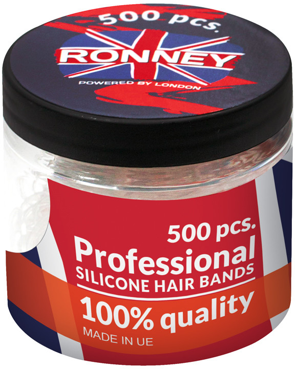 ronney RONNEY Profesjonalne silikonowe gumki do włosów 500 szt PRZEŹROCZYSTE/TRANSPARENTNE ( R5/T/500)