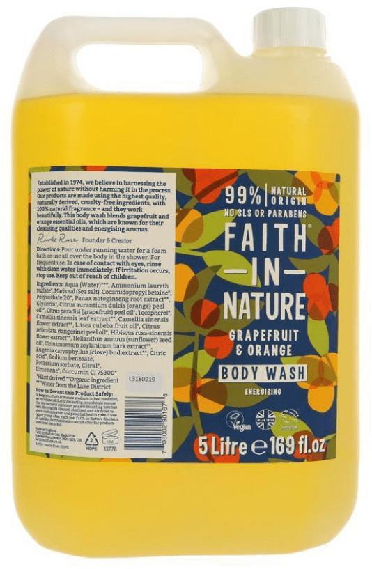 Faith In Nature Organiczny płyn do kąpieli / żel pod prysznic z grejpfrutem i pomarańczą 5L pg-code-17630