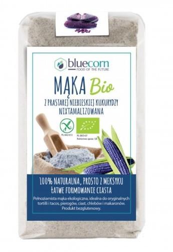 BLUECORN (produkty niebieska kukurydza) MĄKA Z NIEBIESKIEJ KUKURYDZY NIXTAMALIZOWANA BIO 250 g - POPCROP