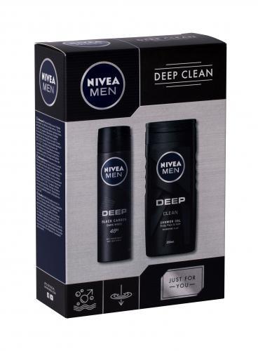 Nivea Men Deep Clean zestaw Zel pod prysznic 250 ml + Antyperspirant spray 150 ml dla mężczyzn