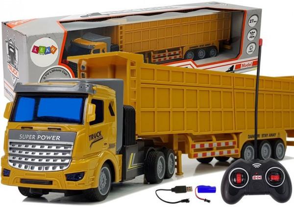 LEANToys Ciężarówka Z Dużą Przyczepą Zdalnie Sterowana 27 Mhz 1:48 Żółta