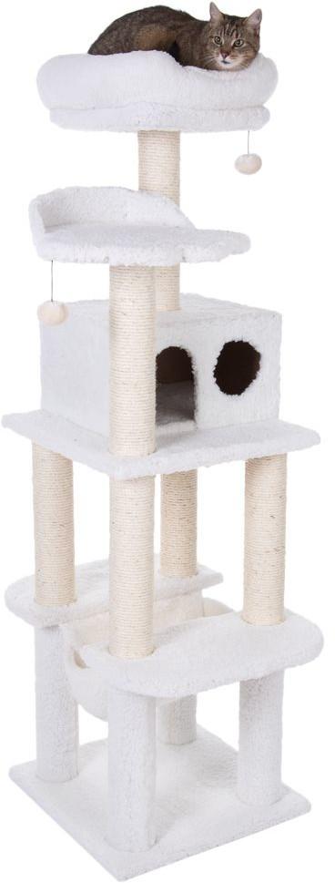 GeoP La Digue II drapak dla kota, biały - Dł. x szer. x wys.: 69 x 68 x 163 cm