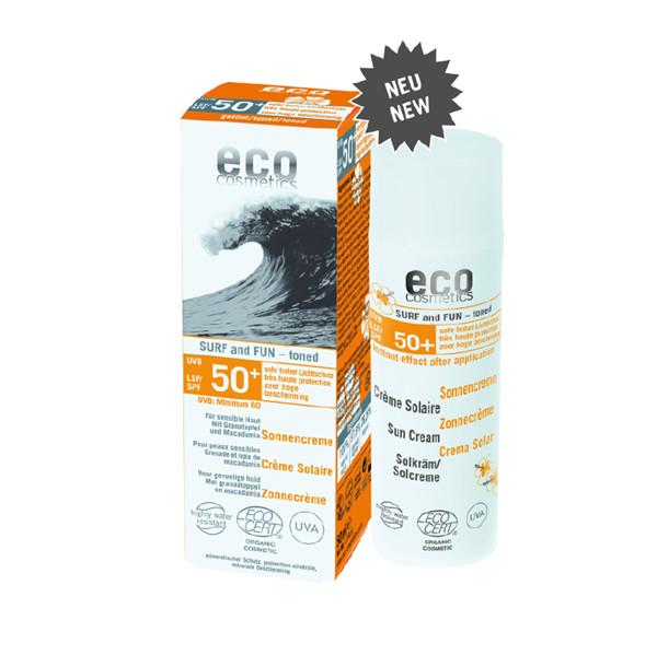 Eco Cosmetics SURF & FUN Tonowany krem na słońce LSF/SPF 50+ z owocem granatu i olejem z makadamii GreenLine-1067-uniw
