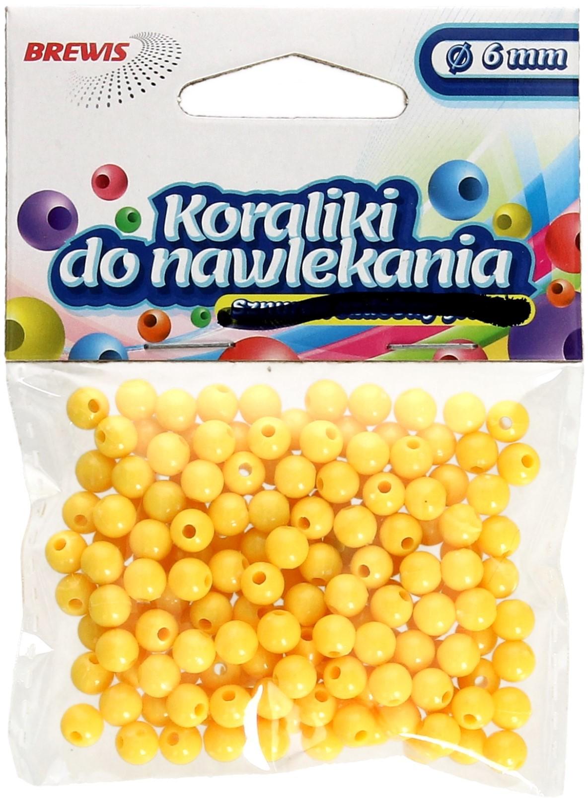 Brewis Koraliki ozdobne żółte K6 6mm VB8853