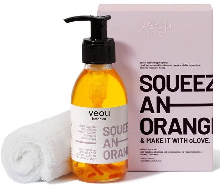 Veoli Botanica VEOLI Zestaw Olejek 2w1 do demakijażu i masażu twarzy + ręcznik do twarzy