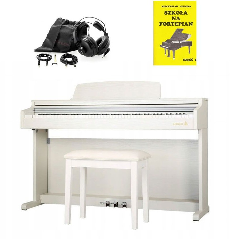 Samick Piano DP-300 WH - pianino cyfrowe + słuchawki + książka