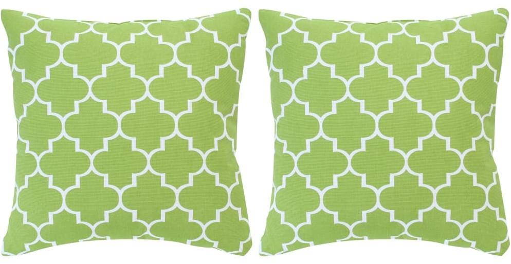 vidaXL vidaXL Poduszki, 2 szt., z nadrukiem, zielone, 40x40 cm, bawełna