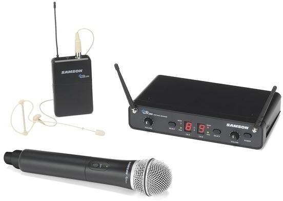 Samson CR288 Concert 288 Pro Combo - podwójny zestaw bezprzewodowy, 1x mik do ręki + 1 x mikrofon nagłowny. 606-654 MHz 82330