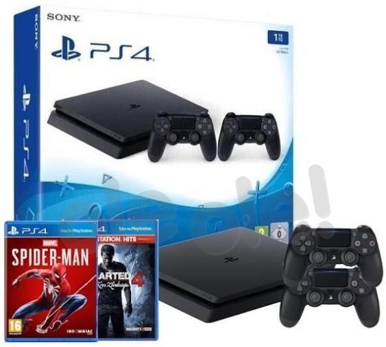 Sony PlayStation 4 Slim 1TB + 2 pady + Uncharted 4 Kres Złodzieja + Marvels Spider-Man