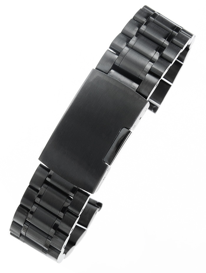 alleTime.pl Czarna stalowa bransoleta do zegarka SB2001- 20 mm