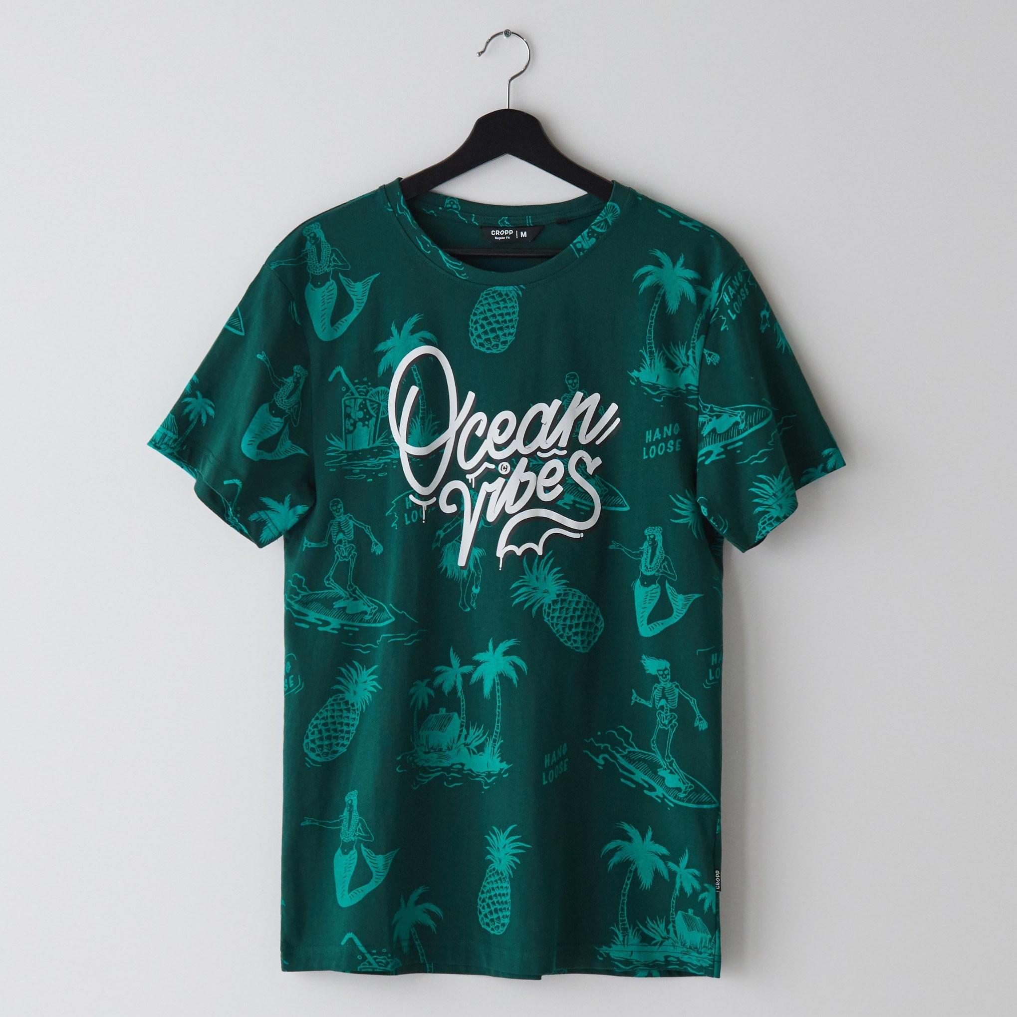 Cropp Cropp - Koszulka z motywem wakacyjnym - Khaki