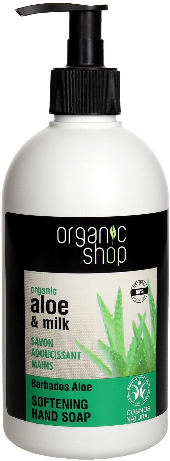Organic Mydło płyn 500ml pompka Aloes&Mleko