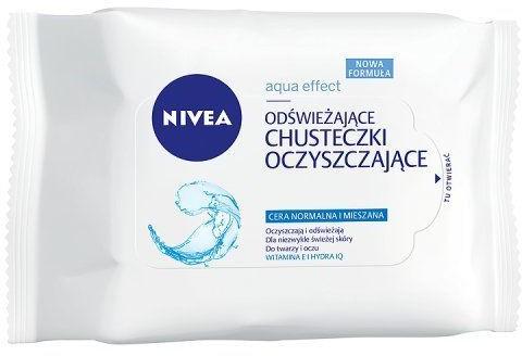 Nivea Odświeżające chusteczki oczyszczające Nivea Aqua Effect cera normalna i mieszana (25 sztuk)