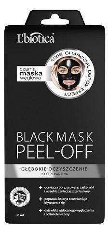 Lbiotica maska węglowa Peel-off Głębokie Oczyszczenie 8 ml 7071056
