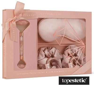 Crystallove Crystallove Rose Quartz Home Spa Set ZESTAW Masażer do twarzy z kwarcu różowego 1 szt + Opaska z jedwabiu 1 szt + Gumka do włosów z jedwabiu 4 szt