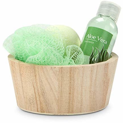 Römer Wellness zestaw upominkowy: Green in Balance, 4-częściowy z drewnianymi koszykami, żel pod prysznic 50 ml, 1 kula do kąpieli + 1 gąbka, zapach: Aloe Vera, 200 g