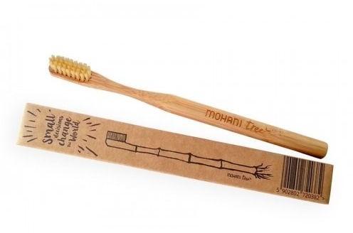 Szczoteczka do zębów bambusowa naturalne włosie średnie