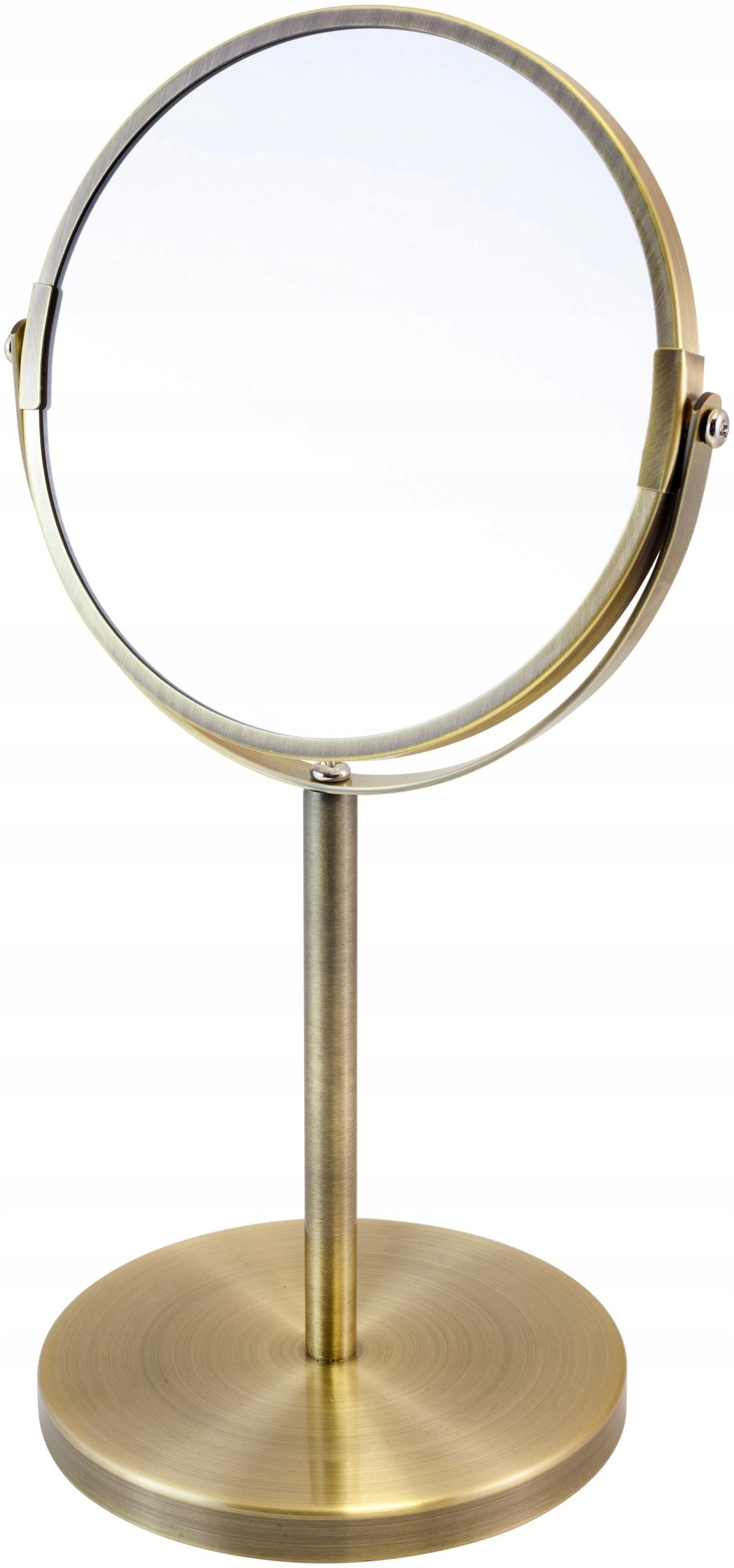 Lustro dwustronne do makijażu stojące złote 3xpow