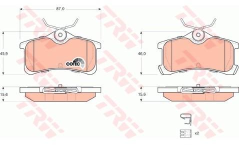 TRW Zestaw klocków hamulcowych, hamulce tarczowe GDB3334