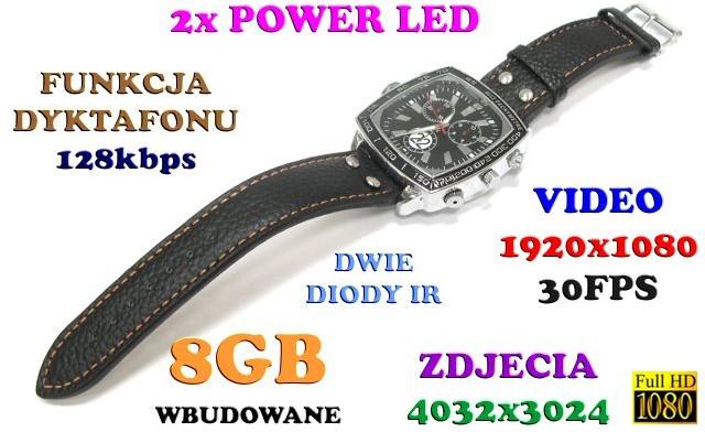 Spy Szpiegowski Zegarek FULL HD na Rękę 8GB) Nagrywający Obraz/Dźwięk + Dyktafon + 4x Diody IR/LED